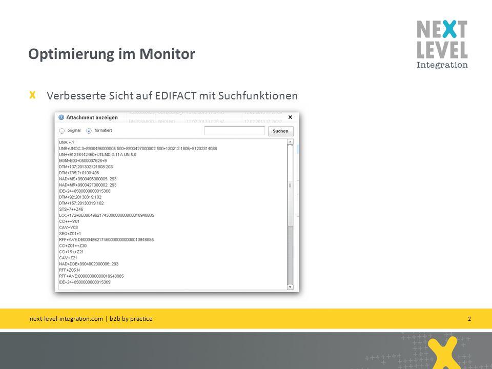 2 Verbesserte Sicht auf EDIFACT mit Suchfunktionen Optimierung im Monitor next-level-integration.com | b2b by practice