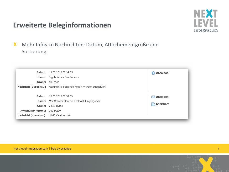 7 Mehr Infos zu Nachrichten: Datum, Attachementgröße und Sortierung Erweiterte Beleginformationen next-level-integration.com | b2b by practice