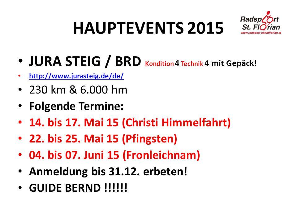 HAUPTEVENTS 2015 JURA STEIG / BRD Kondition 4 Technik 4 mit Gepäck! http://www.jurasteig.de/de/ 230 km & 6.000 hm Folgende Termine: 14. bis 17. Mai 15