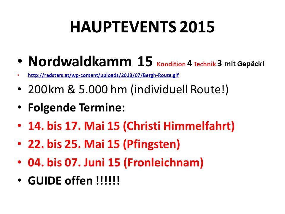 HAUPTEVENTS 2015 Nordwaldkamm 15 Kondition 4 Technik 3 mit Gepäck! http://radstars.at/wp-content/uploads/2013/07/Bergh-Route.gif 200 km & 5.000 hm (in