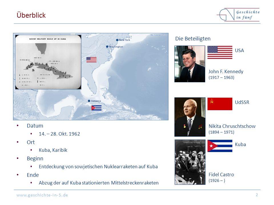 www.geschichte-in-5.de Hintergrund: Kalter Krieg & atomares Wettrüsten Nach dem Zweiten Weltkrieg entwickelt sich der Ost-West- Konflikt & es kommt zum atomaren Wettrüsten mit einem Ungleichgewicht am Anfang der 1960er Jahre Sowjetunion: 4 – 75 Interkontinentalraketen (ICBM) USA: 170 ICBMs & 8 U-Boote mit Polaris-Raketen 3 Um die Vorwarnzeiten von Nuklearschlägen zu verringern, werden Mittelstreckenraketen (MRBM) nah am feindlichen Gebiet stationiert 1958: SU stationiert Nuklearraketen in Osteuropa 1959: USA stationieren Nuklearraketen in Großbritannien, Italien & der Türkei USS Ethan Allen Jupiter (US-MRBM) USA besitzen einen deutlichen Vorteil im Kalten Krieg gegenüber der Sowjetunion, so dass sogar ein atomarer Erstschlag theoretisch möglich wäre