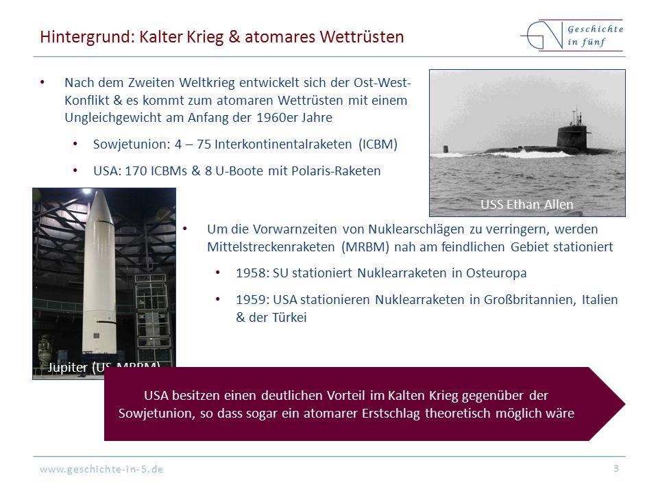 www.geschichte-in-5.de Hintergrund: Kalter Krieg & atomares Wettrüsten Nach dem Zweiten Weltkrieg entwickelt sich der Ost-West- Konflikt & es kommt zu