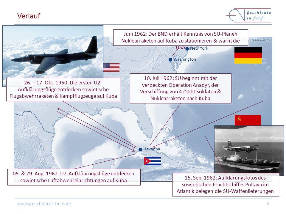 www.geschichte-in-5.de New York Washington Havanna Verlauf 5 Juni 1962: Der BND erhält Kenntnis von SU-Plänen Nuklearraketen auf Kuba zu stationieren
