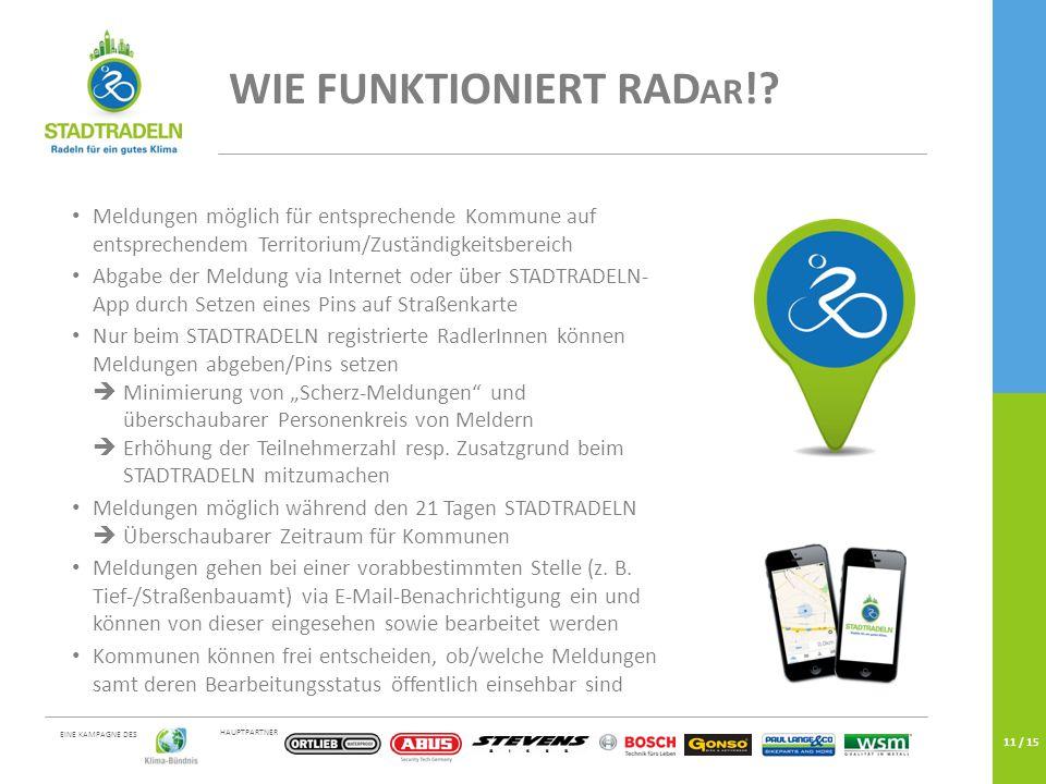 HAUPTPARTNER EINE KAMPAGNE DES 11 / 15 WIE FUNKTIONIERT RAD AR !.