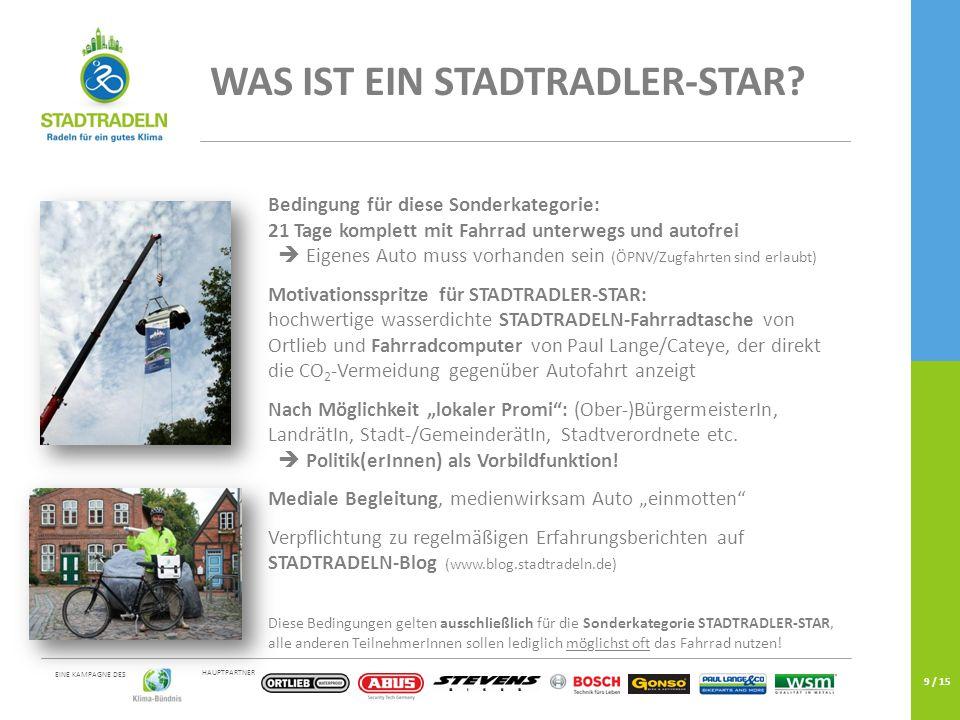 HAUPTPARTNER EINE KAMPAGNE DES 9 / 15 WAS IST EIN STADTRADLER-STAR.