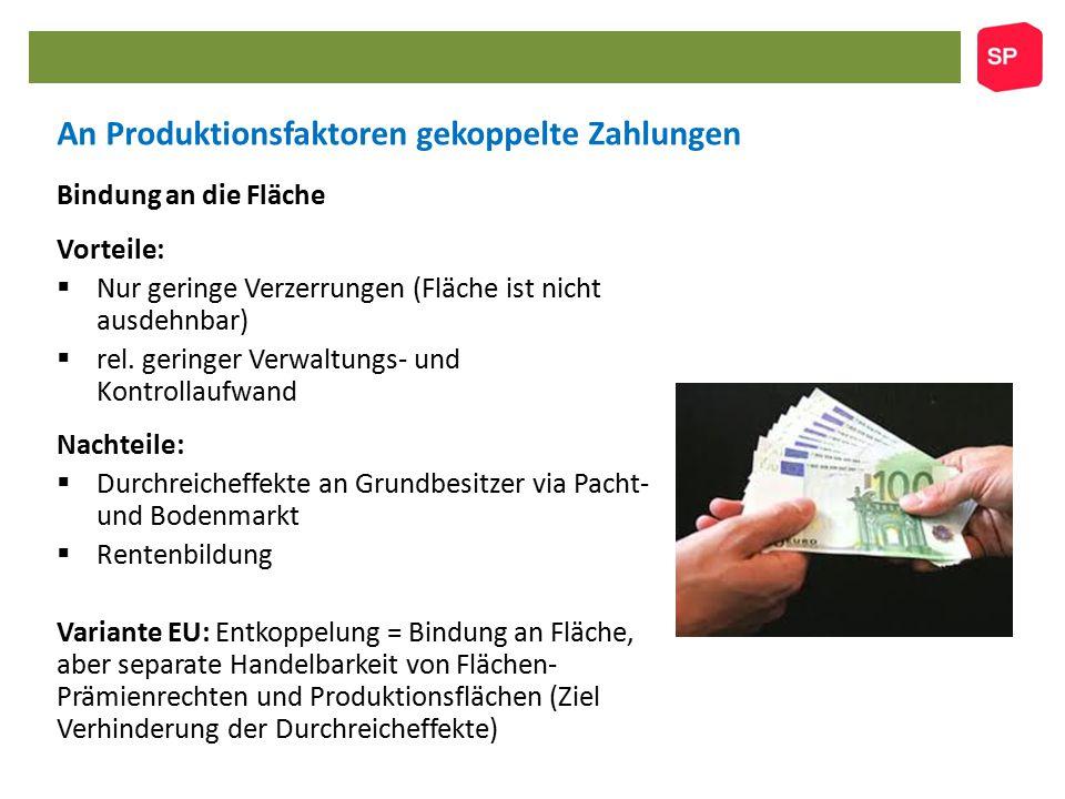 An Produktionsfaktoren gekoppelte Zahlungen Bindung an die Fläche Vorteile:  Nur geringe Verzerrungen (Fläche ist nicht ausdehnbar)  rel.