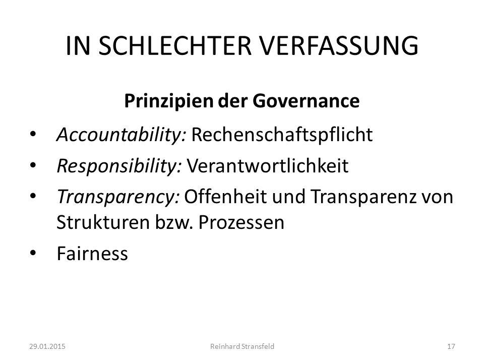 IN SCHLECHTER VERFASSUNG Prinzipien der Governance Accountability: Rechenschaftspflicht Responsibility: Verantwortlichkeit Transparency: Offenheit und Transparenz von Strukturen bzw.