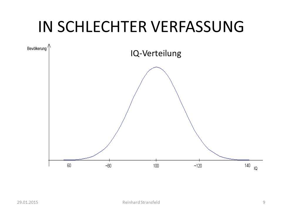 IN SCHLECHTER VERFASSUNG 29.01.2015Reinhard Stransfeld9 IQ-Verteilung