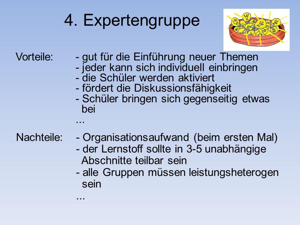 4. Expertengruppe Vorteile: - gut für die Einführung neuer Themen - jeder kann sich individuell einbringen - die Schüler werden aktiviert - fördert di