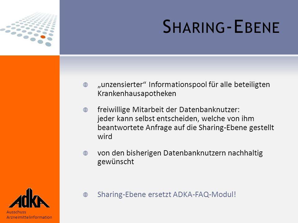 """Ausschuss Arzneimittelinformation S HARING -E BENE  """"unzensierter Informationspool für alle beteiligten Krankenhausapotheken  freiwillige Mitarbeit der Datenbanknutzer: jeder kann selbst entscheiden, welche von ihm beantwortete Anfrage auf die Sharing-Ebene gestellt wird  von den bisherigen Datenbanknutzern nachhaltig gewünscht  Sharing-Ebene ersetzt ADKA-FAQ-Modul!"""