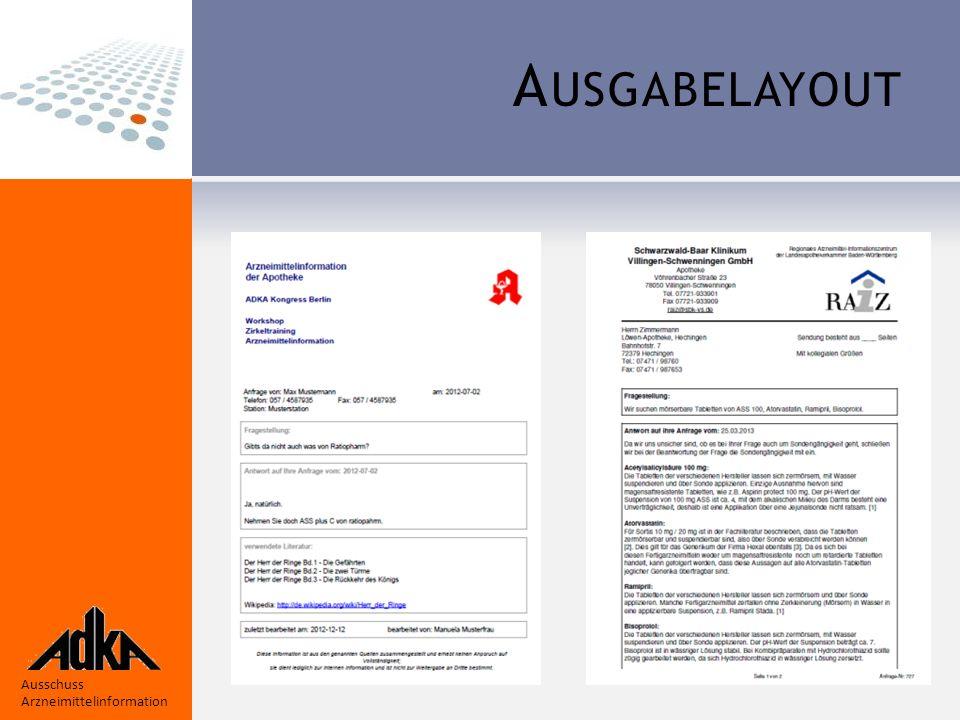 Ausschuss Arzneimittelinformation A USGABELAYOUT