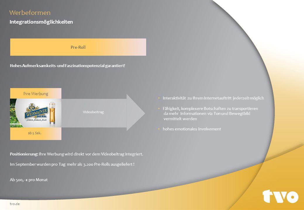 Werbeformen Integrationsmöglichkeiten Pre-Roll Positionierung: Ihre Werbung wird direkt vor dem Videobeitrag integriert.