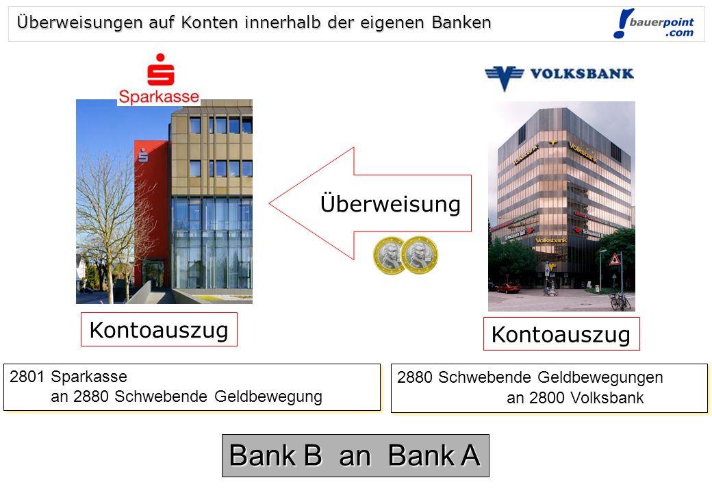 Abhebung 2700 Kassa an 2870 (3170) Barverkehr mit Banken 2700 Kassa an 2870 (3170) Barverkehr mit Banken 2870 (3170) Barverkehr mit Banken an 2800 (31