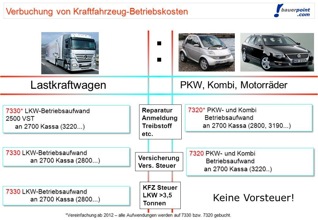 Verbuchung von Kraftfahrzeug-Betriebskosten Lastkraftwagen PKW, Kombi, Motorräder Reparatur Anmeldung Treibstoff etc.