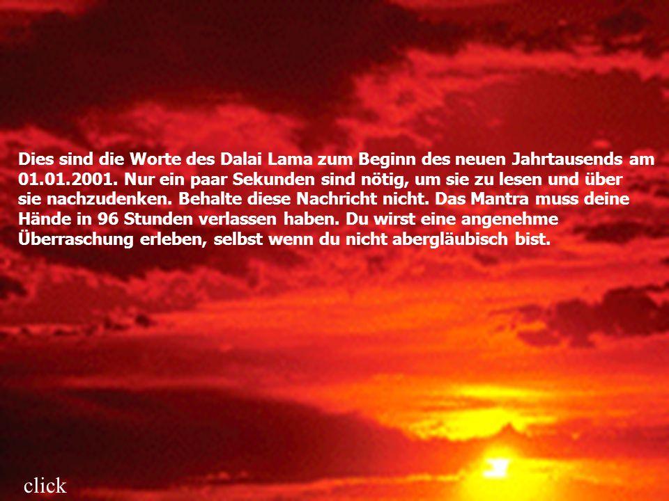 Dies sind die Worte des Dalai Lama zum Beginn des neuen Jahrtausends am 01.01.2001. Nur ein paar Sekunden sind nötig, um sie zu lesen und über sie nac