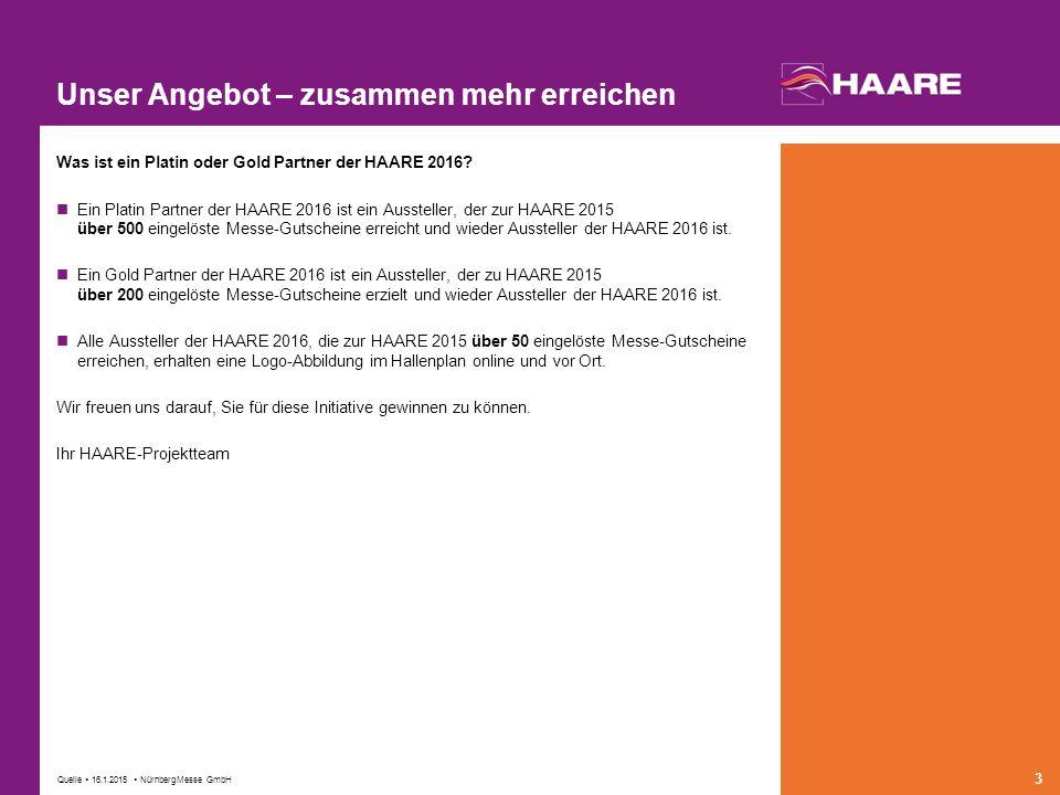 Quelle  16.1.2015  NürnbergMesse GmbH 3 Unser Angebot – zusammen mehr erreichen Was ist ein Platin oder Gold Partner der HAARE 2016.