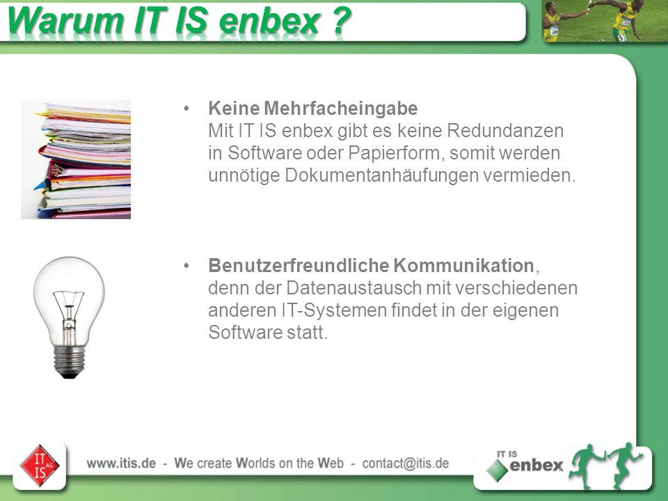 Keine Mehrfacheingabe Mit IT IS enbex gibt es keine Redundanzen in Software oder Papierform, somit werden unnötige Dokumentanhäufungen vermieden.