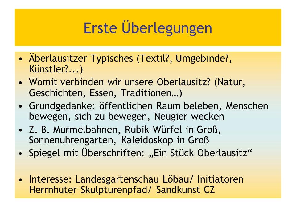 Erste Überlegungen Äberlausitzer Typisches (Textil?, Umgebinde?, Künstler?...) Womit verbinden wir unsere Oberlausitz? (Natur, Geschichten, Essen, Tra