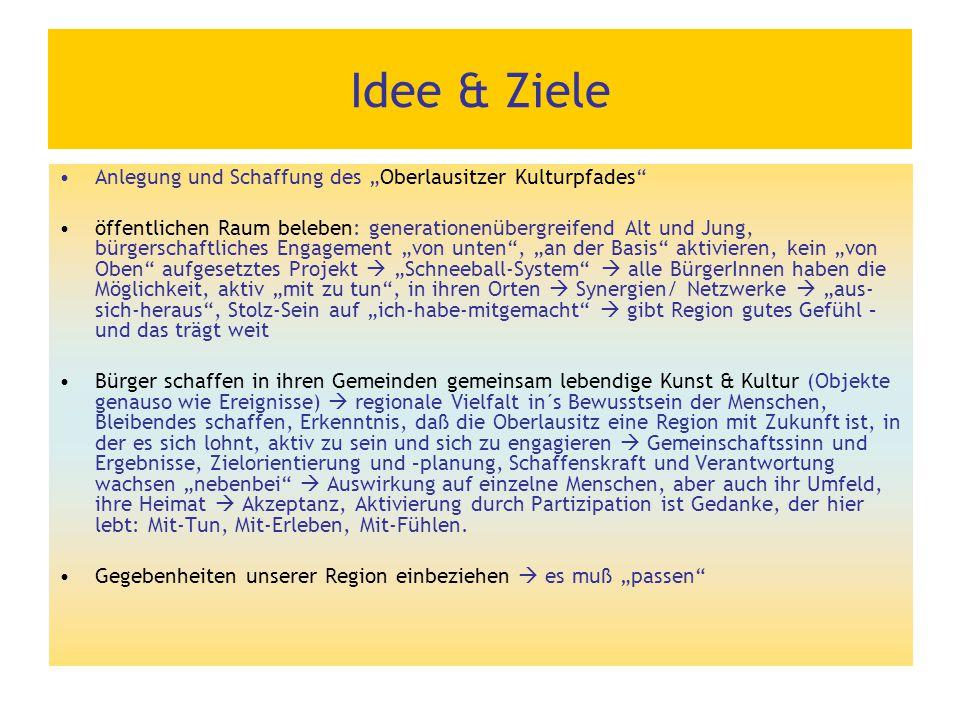 """Idee & Ziele Anlegung und Schaffung des """"Oberlausitzer Kulturpfades"""" öffentlichen Raum beleben: generationenübergreifend Alt und Jung, bürgerschaftlic"""