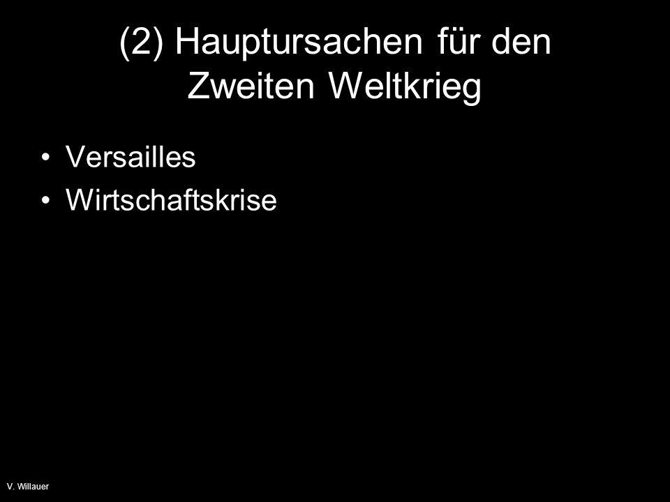 V. Willauer (2) Hauptursachen für den Zweiten Weltkrieg Versailles Wirtschaftskrise