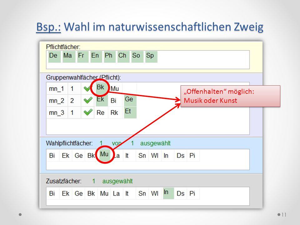 """11 Bsp.: Wahl im naturwissenschaftlichen Zweig """"Offenhalten"""" möglich: Musik oder Kunst """"Offenhalten"""" möglich: Musik oder Kunst"""