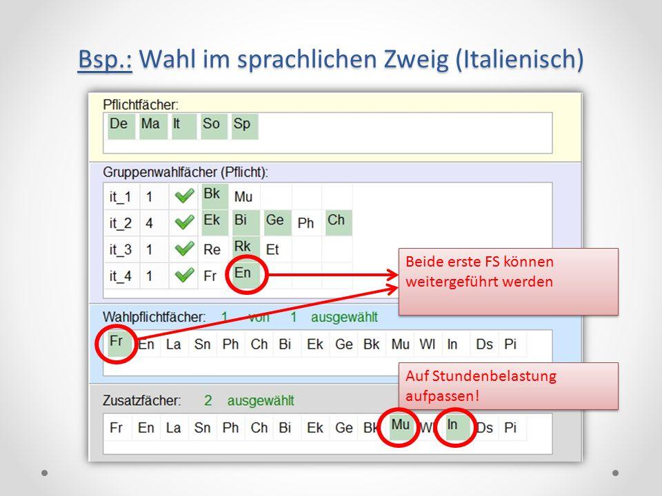 Bsp.: Wahl im sprachlichen Zweig (Italienisch) Beide erste FS können weitergeführt werden Auf Stundenbelastung aufpassen!