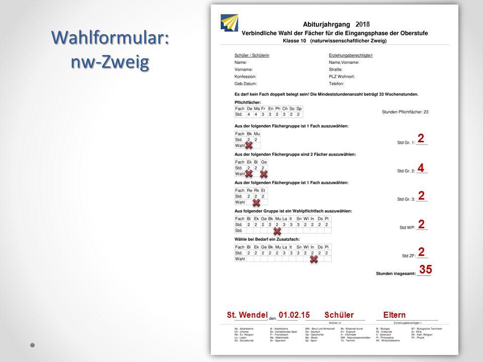 Wahlformular:nw-Zweig 18 2 4 2 2 2 35 St. Wendel 01.02.15 Schüler Eltern 2018