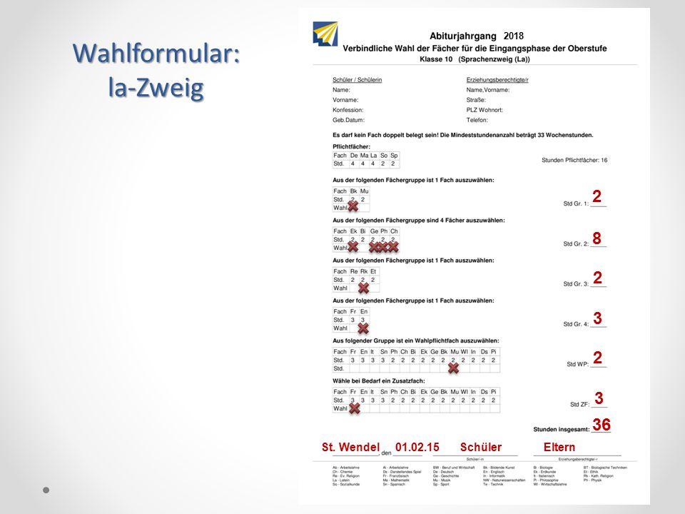 Wahlformular:la-Zweig 2 8 2 3 2 36 St. Wendel 01.02.15 Schüler Eltern 3 2018