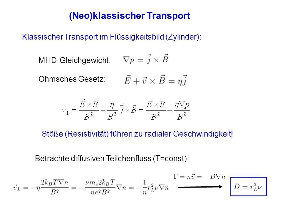 (Neo)klassischer Transport Klassischer Transport im Flüssigkeitsbild (Zylinder): MHD-Gleichgewicht: Ohmsches Gesetz: Stöße (Resistivität) führen zu ra
