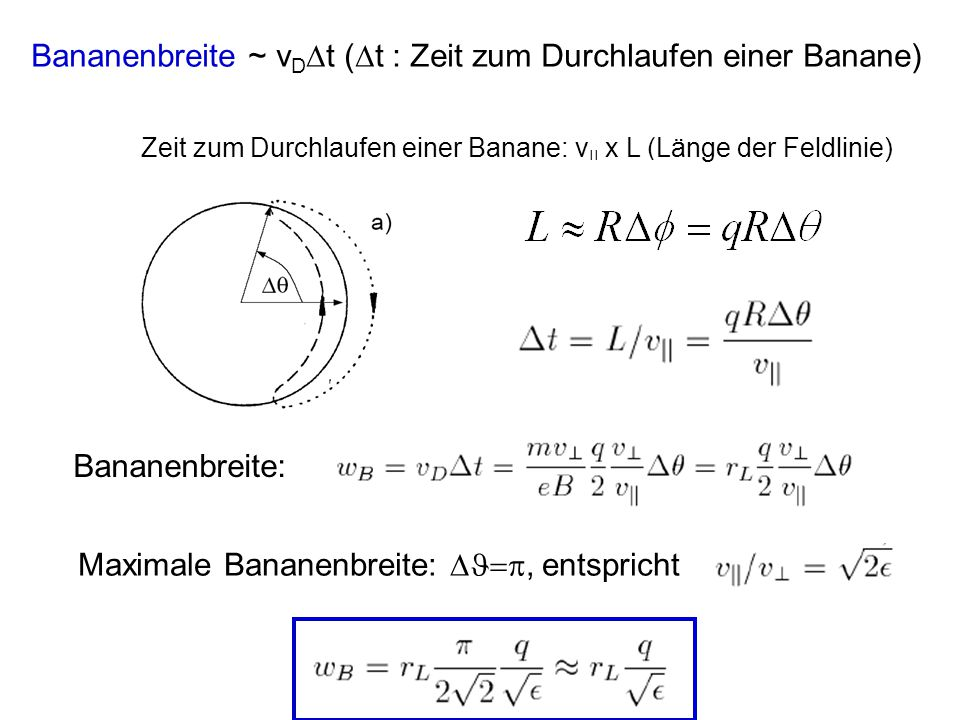 Zeit zum Durchlaufen einer Banane: v || x L (Länge der Feldlinie) Bananenbreite ~ v D  t (  t : Zeit zum Durchlaufen einer Banane) Bananenbreite: Ma