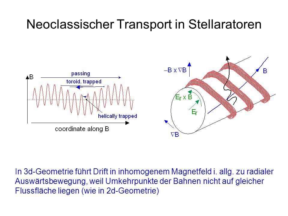 Neoclassischer Transport in Stellaratoren In 3d-Geometrie führt Drift in inhomogenem Magnetfeld i. allg. zu radialer Auswärtsbewegung, weil Umkehrpunk