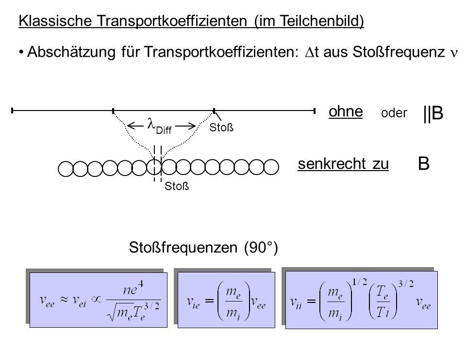 Klassische Transportkoeffizienten (im Teilchenbild) Abschätzung für Transportkoeffizienten:  t aus Stoßfrequenz ohne oder ||B senkrecht zu B Stoß Dif