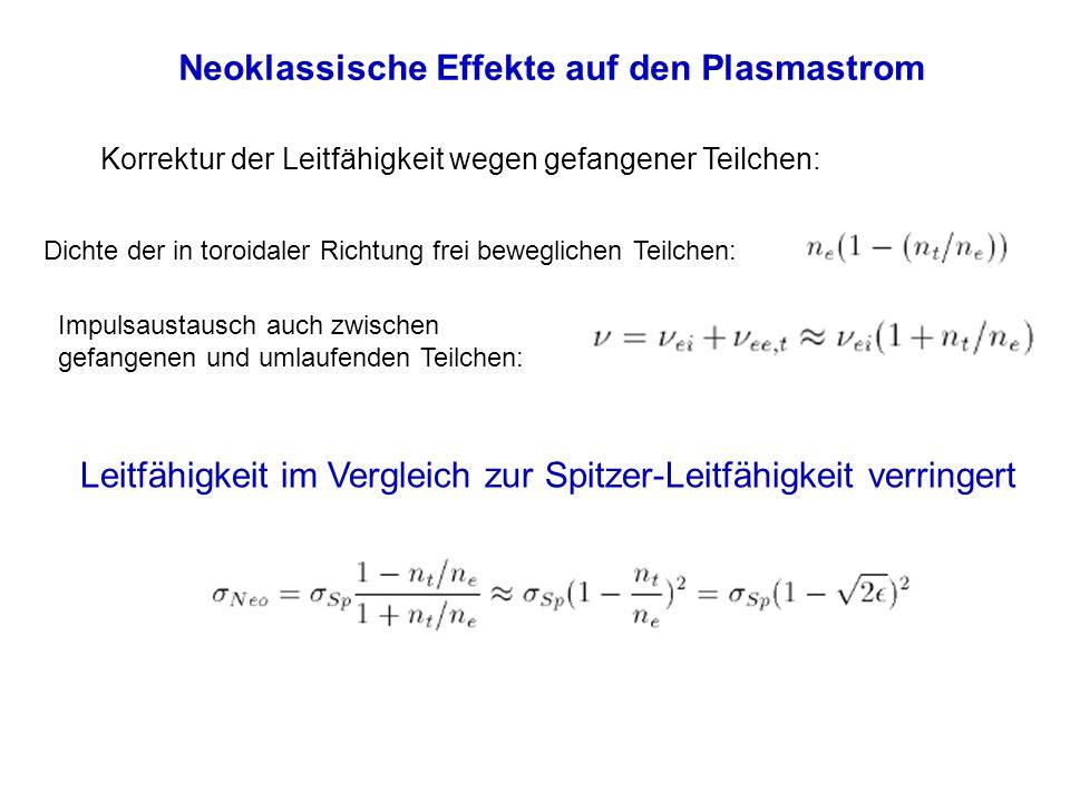 Neoklassische Effekte auf den Plasmastrom Korrektur der Leitfähigkeit wegen gefangener Teilchen: Dichte der in toroidaler Richtung frei beweglichen Te