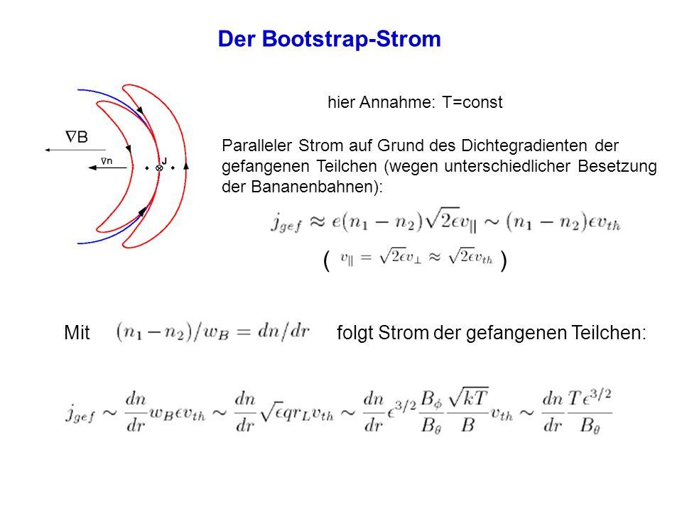 Der Bootstrap-Strom hier Annahme: T=const Paralleler Strom auf Grund des Dichtegradienten der gefangenen Teilchen (wegen unterschiedlicher Besetzung d
