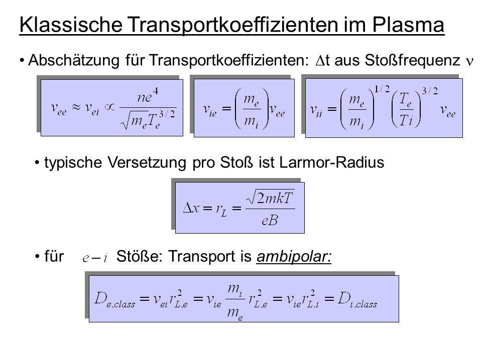 klassische Wärmeleitfähigkeit: Typischer Zahlenwert für Ionen: Experimentell gefunden :, zusätzlich .