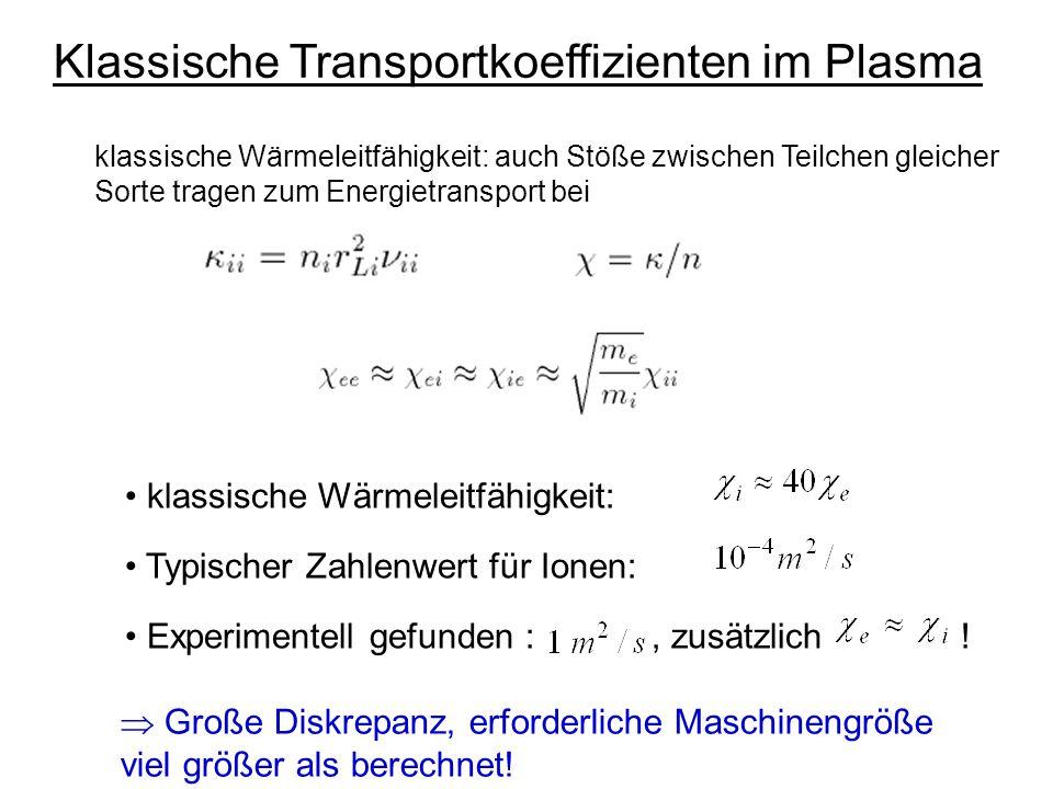 Neoklassischer Transport (Transport in einem Torus) Wesentliche Änderungen wegen toroidaler Effekte, charakteristische Größe inverses Aspektverhältnis: Entlang von Magnetfeldlinien ist B nicht konstant  magnetischer Spiegel abhängig von v  / v , können Teilchen gefangen werden R B~1/R