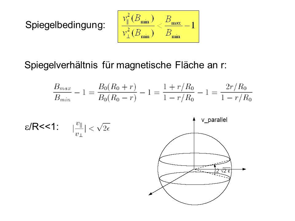 Spiegelverhältnis für magnetische Fläche an r: Spiegelbedingung:  /R<<1: