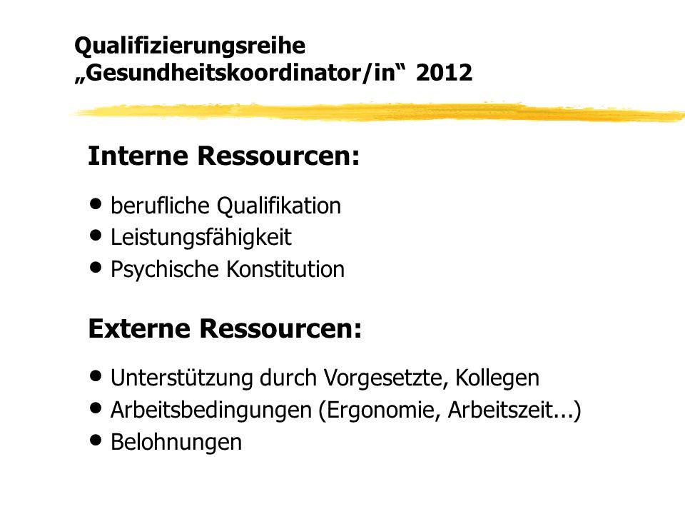 Interne Ressourcen: ● berufliche Qualifikation ● Leistungsfähigkeit ● Psychische Konstitution Externe Ressourcen: ● Unterstützung durch Vorgesetzte, K