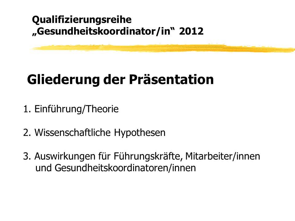 Gliederung der Präsentation 1. Einführung/Theorie 2. Wissenschaftliche Hypothesen 3. Auswirkungen für Führungskräfte, Mitarbeiter/innen und Gesundheit
