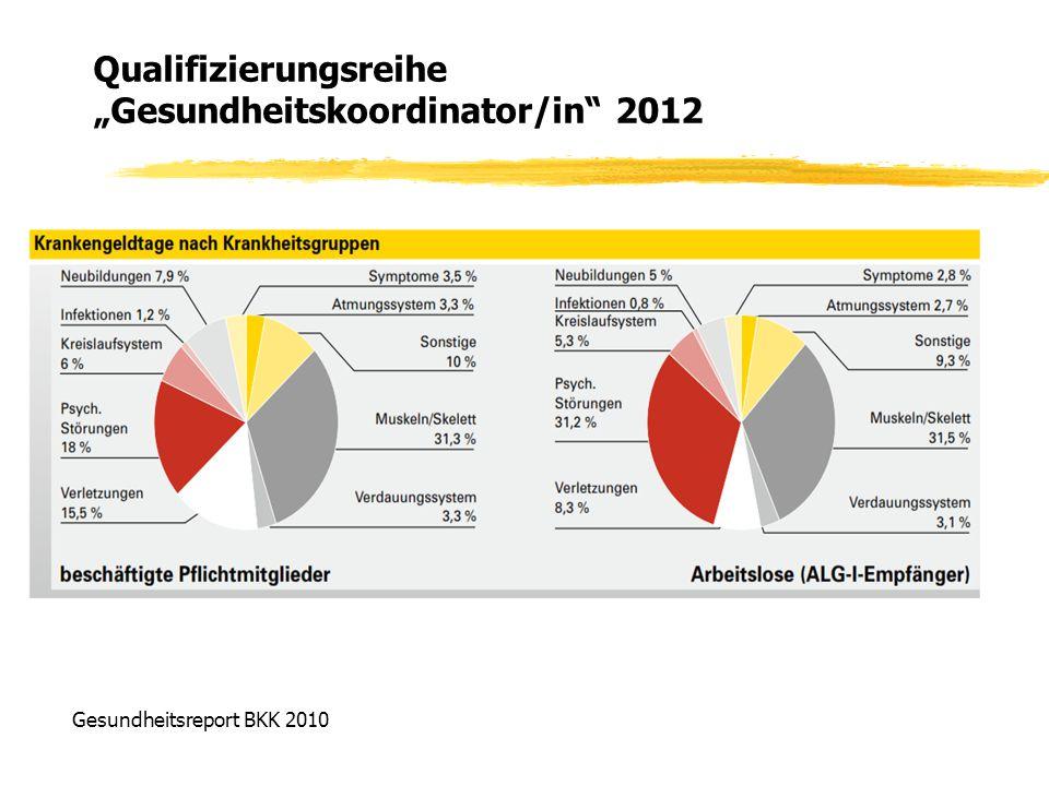 """Qualifizierungsreihe """"Gesundheitskoordinator/in"""" 2012 Gesundheitsreport BKK 2010"""