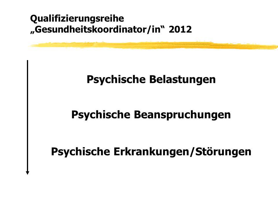 """Qualifizierungsreihe """"Gesundheitskoordinator/in"""" 2012 Psychische Belastungen Psychische Beanspruchungen Psychische Erkrankungen/Störungen"""