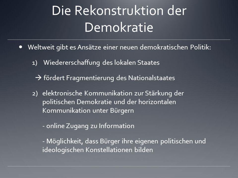 Die Rekonstruktion der Demokratie Weltweit gibt es Ansätze einer neuen demokratischen Politik: 1) Wiedererschaffung des lokalen Staates  fördert Frag