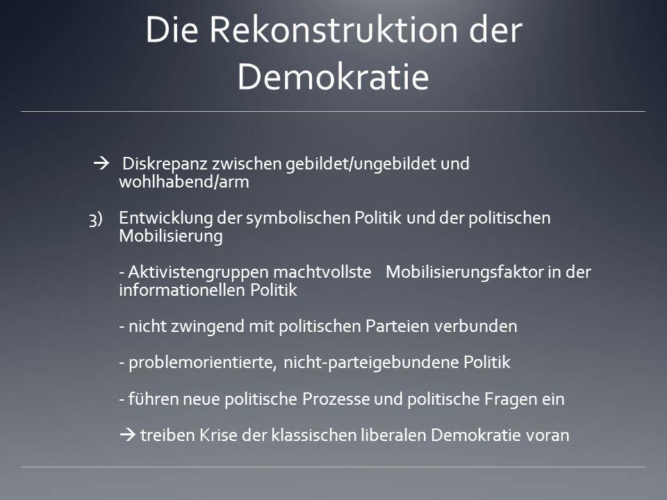 Die Rekonstruktion der Demokratie  Diskrepanz zwischen gebildet/ungebildet und wohlhabend/arm 3)Entwicklung der symbolischen Politik und der politisc