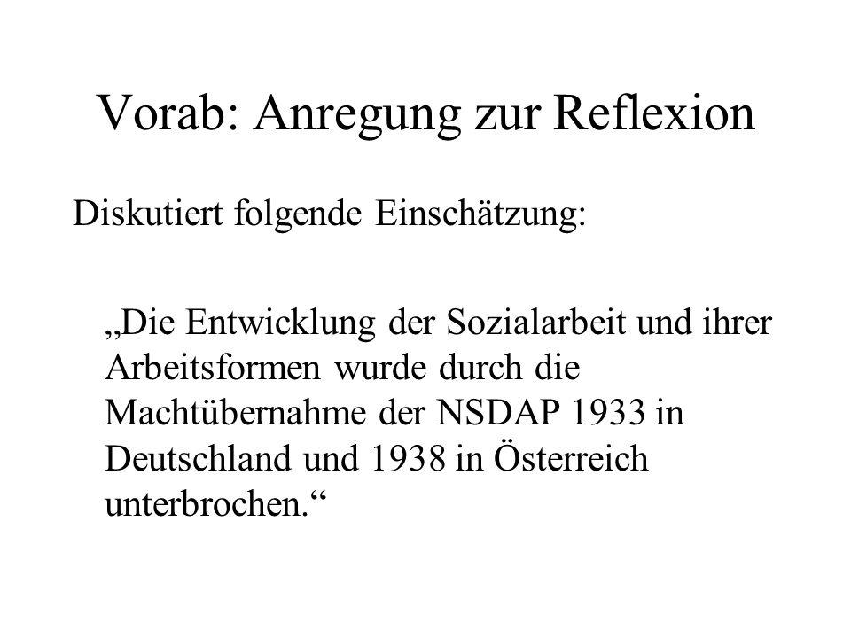 """Vorab: Anregung zur Reflexion Diskutiert folgende Einschätzung: """"Die Entwicklung der Sozialarbeit und ihrer Arbeitsformen wurde durch die Machtübernah"""