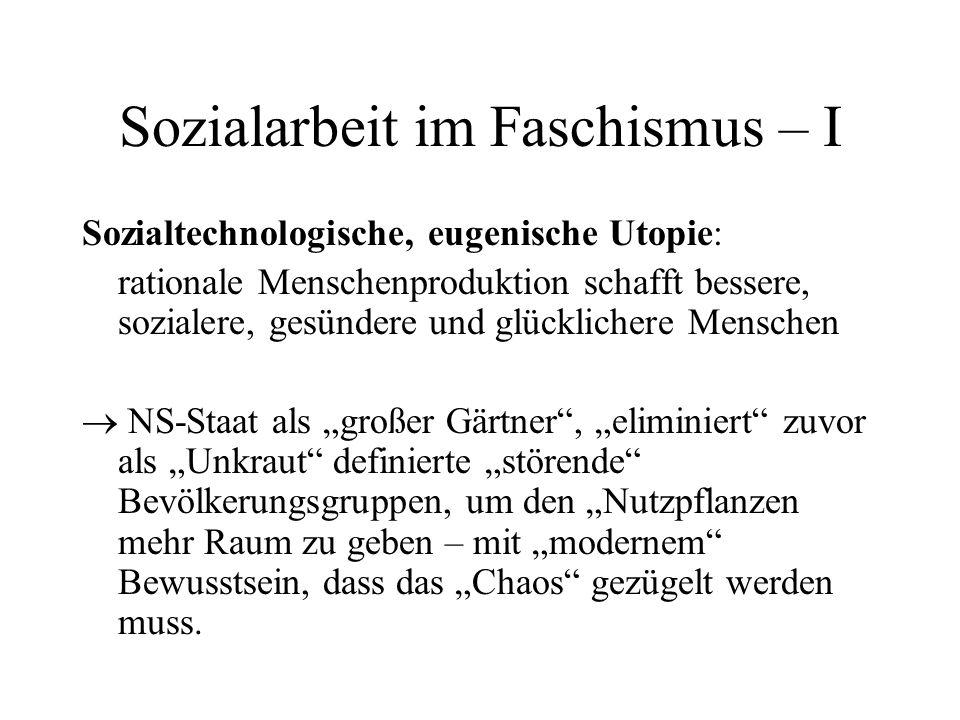 """Sozialarbeit im Faschismus - II Gesamtkomplex """"Soziale Arbeit hat strategisch wichtige Rolle, insb."""