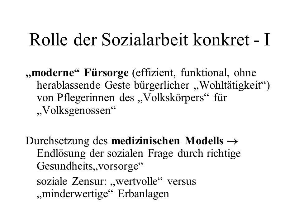 """Rolle der Sozialarbeit konkret - I """"moderne"""" Fürsorge (effizient, funktional, ohne herablassende Geste bürgerlicher """"Wohltätigkeit"""") von Pflegerinnen"""