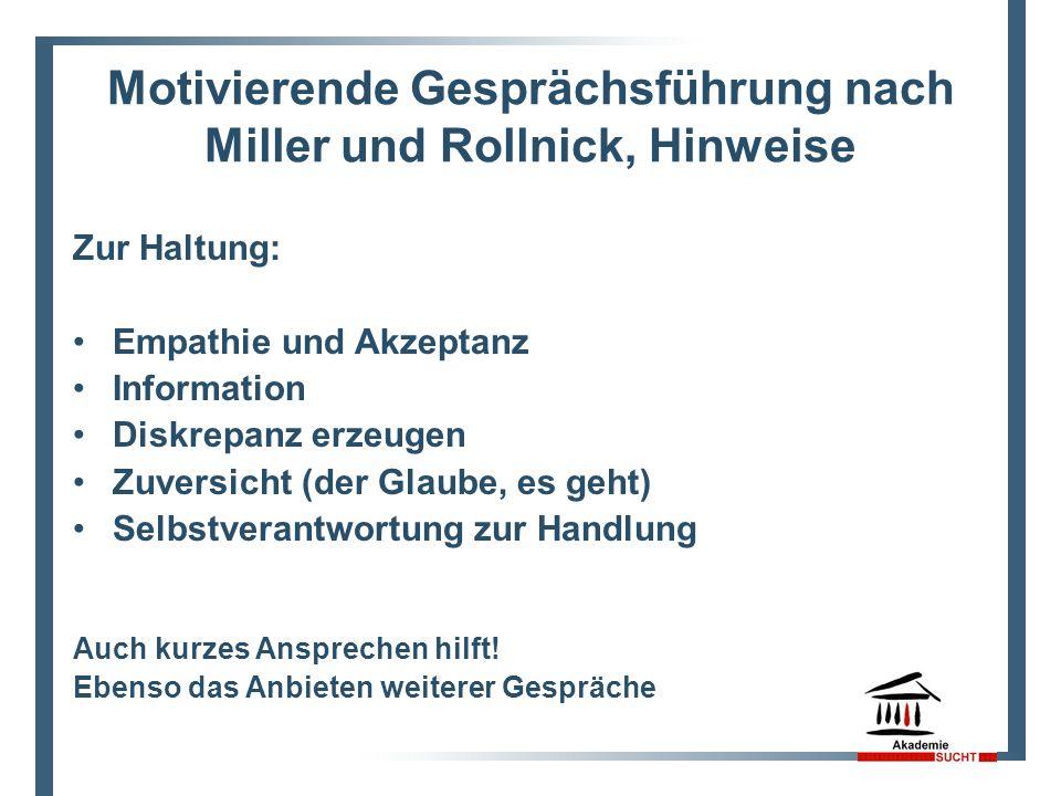 Motivierende Gesprächsführung nach Miller und Rollnick, Hinweise Zur Haltung: Empathie und Akzeptanz Information Diskrepanz erzeugen Zuversicht (der G