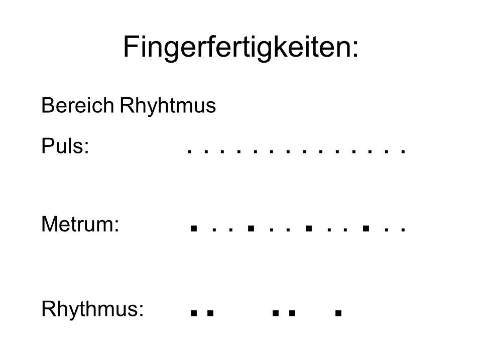 Fingerfertigkeiten: Bereich Rhyhtmus Puls:.............. Metrum:............ Rhythmus:.....