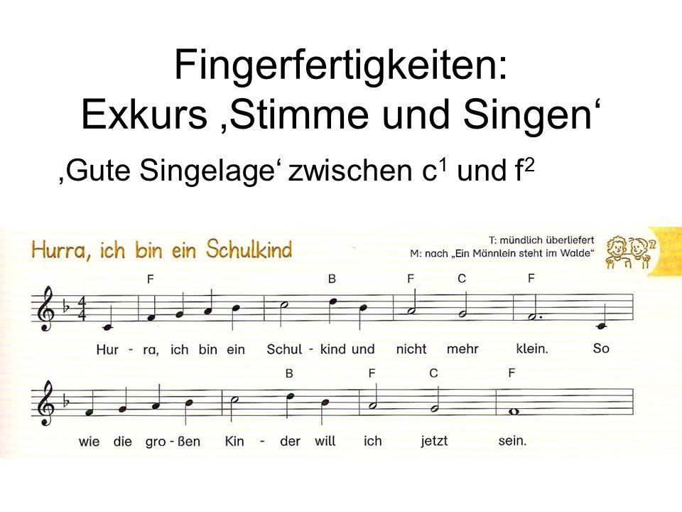 'Gute Singelage' zwischen c 1 und f 2 Fingerfertigkeiten: Exkurs 'Stimme und Singen'