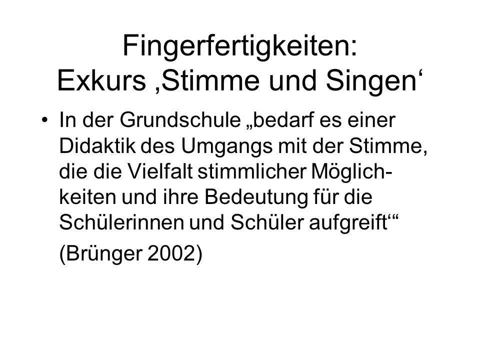 """In der Grundschule """"bedarf es einer Didaktik des Umgangs mit der Stimme, die die Vielfalt stimmlicher Möglich- keiten und ihre Bedeutung für die Schülerinnen und Schüler aufgreift' (Brünger 2002) Fingerfertigkeiten: Exkurs 'Stimme und Singen'"""